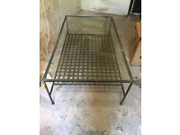 Large metal glass topped coffee table