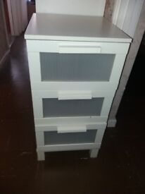 Three Chest of drawers white color