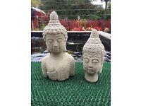 Garden Stone Buddha Statues Bust x 2