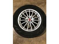"""Single 18"""" genuine Jaguar alloy wheel and tyre good for spare"""
