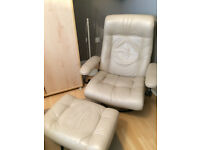 Leather recliner and footstool