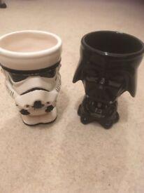 Darth Vader and Storm Trooper Ceramic Goblets
