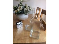 Two thick glass square vase