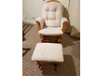 Kub Haywood Glider Padded Rocking Nursing Chair with Footstool