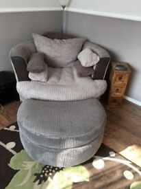 Love seat/swivel chair with foot stall