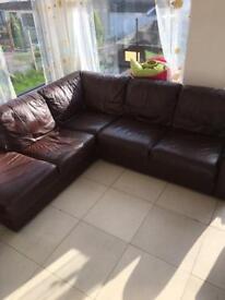 Brown leather corner sofa (SOLD)
