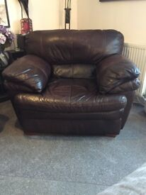 Italian chocolate leather arm chair and matching 3 seater sofa