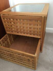 Wooden side table with draws- excellent condition