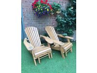 2 Wood Adirondack Chairs Ottoman Outdoor Patio Deck Garden Seats Lounge Furniture