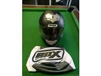Black motorbike helmet