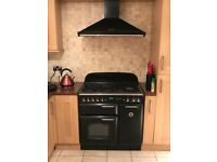 Rangemaster classic 90 black/chrome gas hob electric oven with matching extractor hood