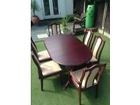 Mahogany extending table &6 chairs