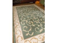 Pure Wool Rug in green and cream