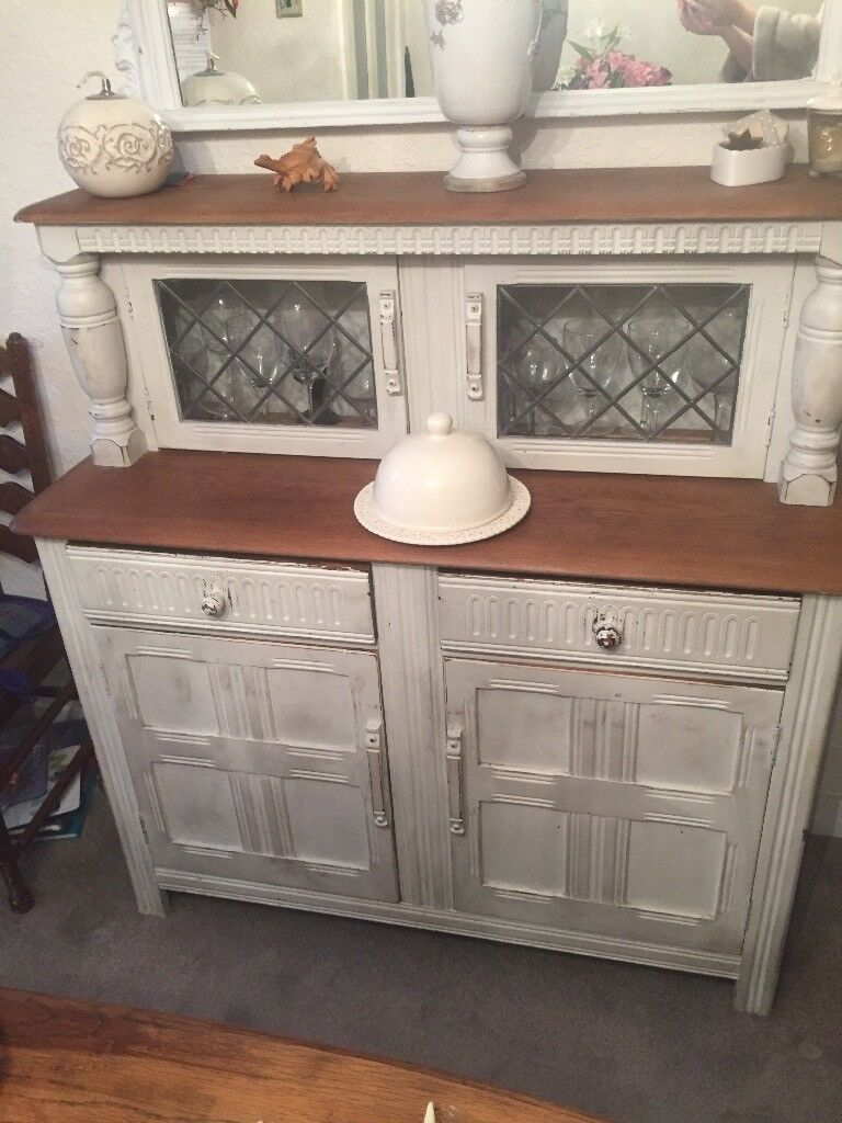 Shabby chic extending drop leaf table and matching dresser cabinet