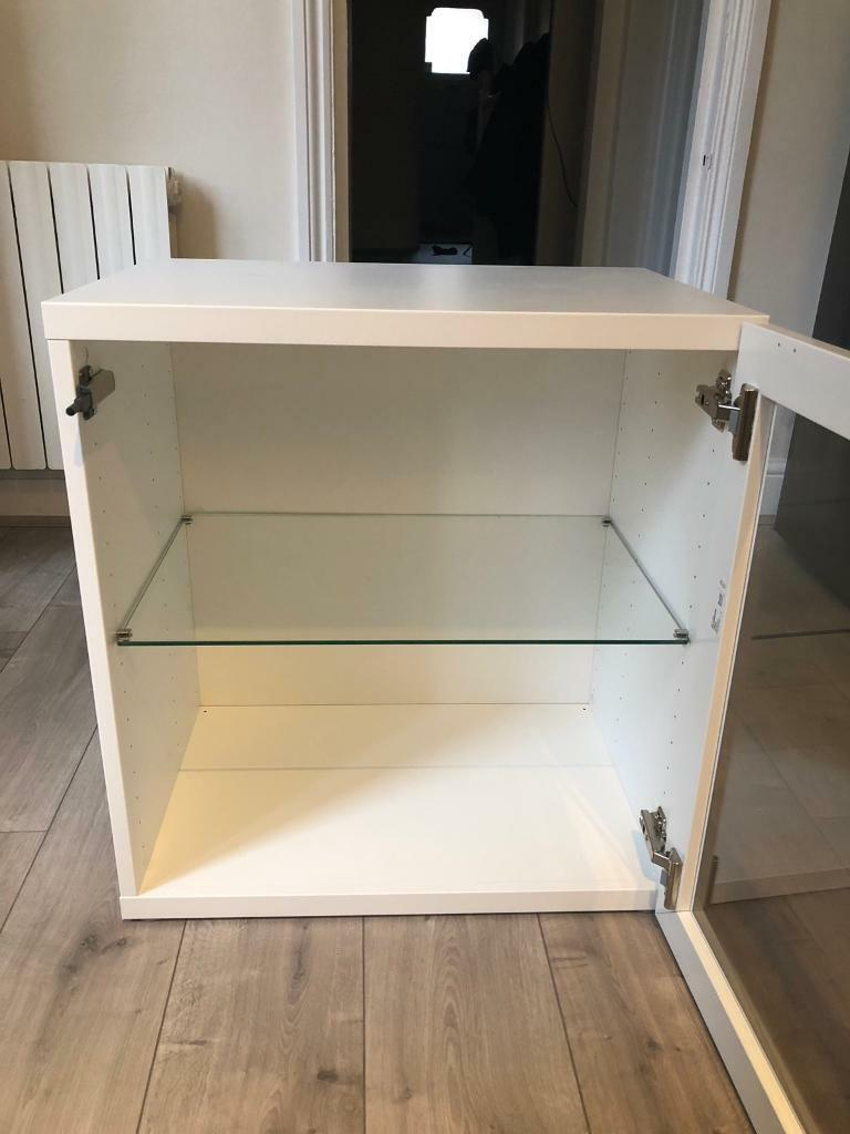 Ikea Besta White Storage Cabinets With Gl Doors 3 Available In West Hampstead London Gumtree