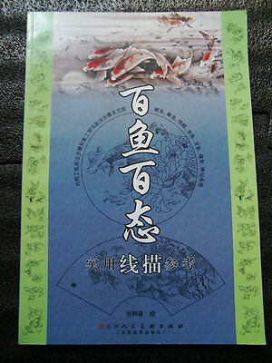 Hundreds of Fish Koi Chinese painting Outline Tattoo Flash Reference book 120P - Tattoos Of Fish