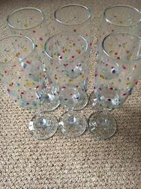 6 handpainted spotty champagne flutes