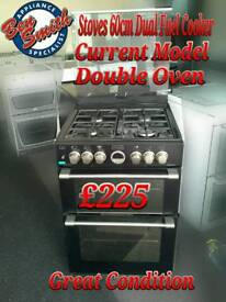 Dual Fuel Cooker Stoves 60cm Double Oven