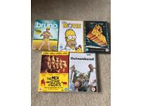 Comedy DVD's, Bruno, The Simpsons Movie, Outnumbered, The Men Who Stare At Goats, Monty Python