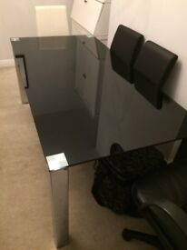 Park Furnishers black glass dining table