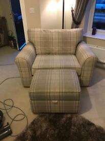 Love seat/snuggle chair with matching storage stool