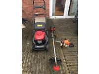 Lawnmower, trimmer and chainsaw for sale. BARGAIN!!