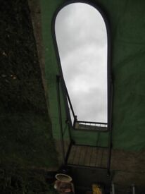 Large Quality Adjustable Dressing Mirror in Metal Frame and on Castors for £30.00