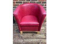 Designer Red Leather Tub Chair Armchair for Dining Living Room Office Reception