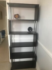 Contemporary style shelving unit - black/brown wood with metal detail