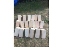 24 plastic v perches and 19 wooden peg perches