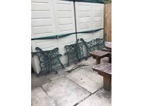 Cast wrought iron garden bench and table ends