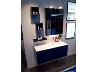 Dansani Calidris 100cm Vanity Unit with offset basin & Mirror Cabinet Midnight Blue RRP £6337