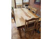 Wooden Jaali Dining Table and 6 matching Chairs