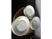 18 piece white and green dinner set of 6 Dinner Plate, 6 Dessert Plate, 6 Soup Plate