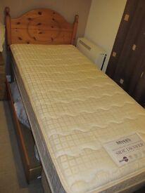 Myers single bed inc. mattress with pine headboard