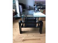 Glass & Piano black coffee table