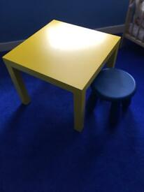 Yellow desk & stool