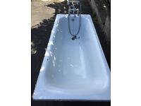 Bath steel with mixer/shower taps