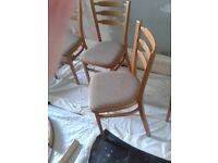 4 x Dining Chairs/kitchen chairs. Padded seats. Good clean condition. Had little use. Bargain!