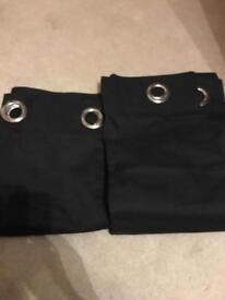 Pair of black curtains