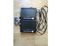 Bush Dual in car DVD TV player with remote and all cables