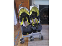 Maclaren twin techno stroller with footmuffs and raincover - immaculate condition