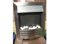 SWAN INSERT FIRE WITH COALS SILVER ALUMINIUM EDGES EXCELLENT CONDITION
