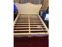 Beatrice king size bed (no mattress) Ivory colour For size see picture