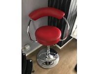 4 red dining/ bar stools