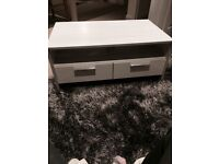 Coffee table- white with double drawer