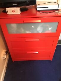 Red ikea chest of draws