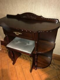 Solid wood hall table with stool