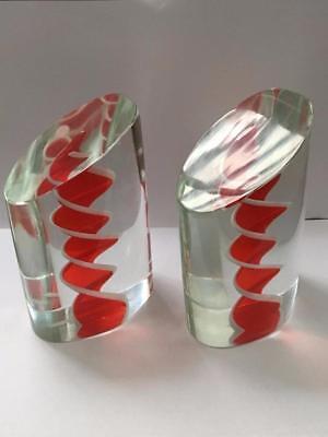 Vintage Salviati Art Glass Bookends Pair Red White Spirals