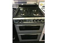 STOVES 60CM GAS DOUBLEOVEN COOKER IN SILVER